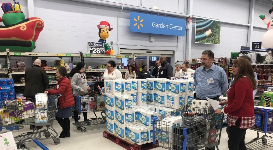 Pepsi Volunteers Shop at Raleigh Walmart to Get Wish List Items and Household Staples for Less Fortunate Families