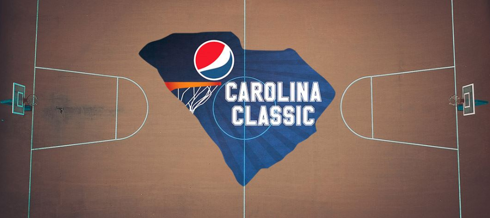 Basket Ball Court with the Words Carolina Classic Illustrates the Pepsi Support of the Boys and Girls Club of Florence, SC