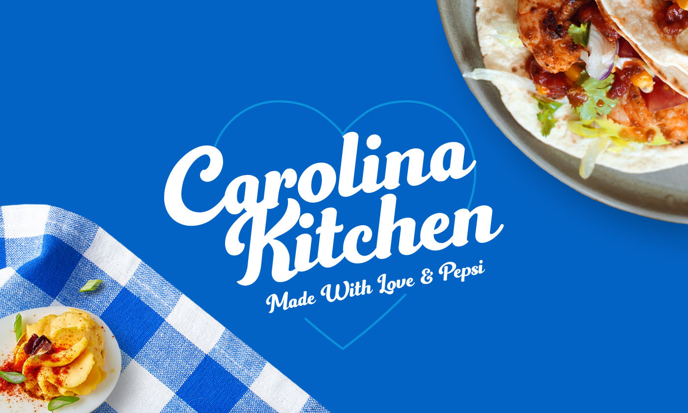 Plated Eggs and Tacos with Carolina Kitchen Banner