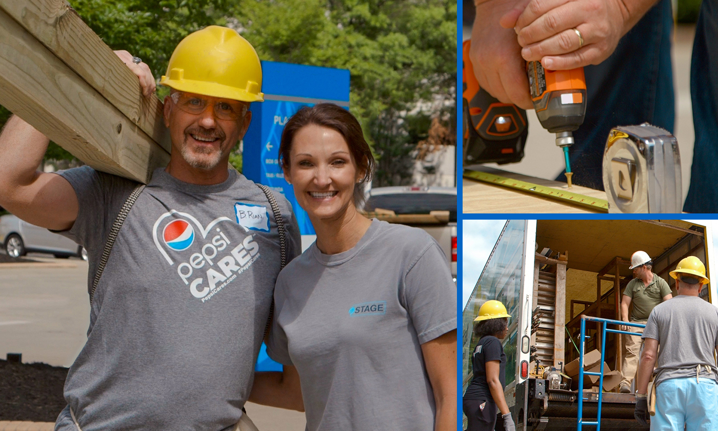 Habitat For Humanity Volunteers Wearing Pepsi Cares T-Shirts Onsite in Greenville, SC